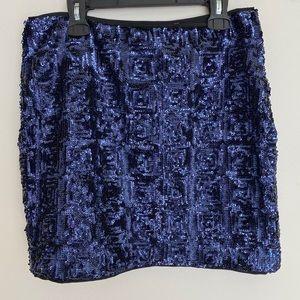 4/20$ H&M navy blue sequin mini skirt size 6.